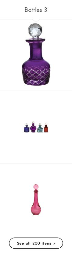 """""""Bottles 3"""" by swan-lady ❤ liked on Polyvore featuring home, bed & bath, bath, bath accessories, perfume bottles, bottles, colored bottles, colored glass bottles, purple glass bottles and purple bathroom accessories"""