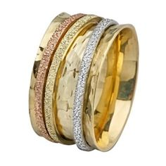 Tri-Color Gold Spinning Wedding Ring