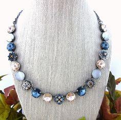 12mm Swarovski crystal necklace denim blue and by SiggyJewelry