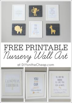 Free Printable Nursery Wall Art! 3 designs available for download at DIY on the Cheap.