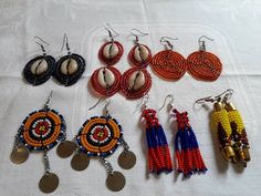 Kenya earrings / 6 pair African jewelry / globally trend Jewelry / African fashion style/ wholesale maasai Jewelry/ beads