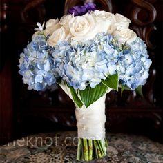 Real Weddings - A Beach Wedding in Block Island, RI - White and Blue Wedding Bouquet