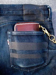 Worn75's Momotaro x Blue Owl Collabs @ 6 months + 3 washes. Close-up of back poacket w/Voyej wallet. https://www.pinterest.com/worn75/ #momotaro #blueowl #voyej #voyejwallet #voyejleather #momotarojeans #rawdenim #selvedge #selvedgedenim #worndenim #worn75collective #dontwashyourjeans ⓀⒾⓃⒼⓈⓉⓊⒹⒾⓄⓌⓄⓇⓀⓈ ▻http://kingstudioworks.com/