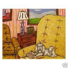 L O L!!  MALTESE DOING NEEDLEPOINT  *picture DOG art print 11x14 giclee gift schmetz
