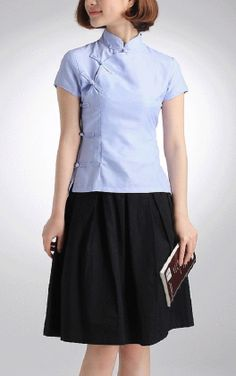Cotton Crop Sleeve Qipao Top / Chinese Blouse