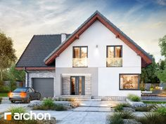 Dom w ambrozjach Dormer Bungalow, Roof Extension, Flat Roof, Home Fashion, Exterior Design, Sweet Home, Villa, Mansions, House Styles