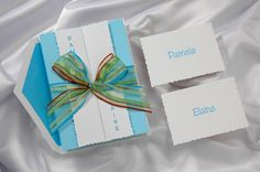 Bat Mitzvah Invitation Turquoise Blue Gatefold. Features a ribbon and raised ink.