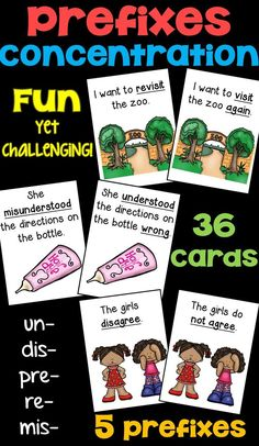 Prefixes Concentration Game featuring the five most common prefixes! Grammar Activities, Teaching Phonics, Speech Therapy Activities, Teaching Reading, Learning, Word Study, Word Work, Prefix Games, 3rd Grade Writing