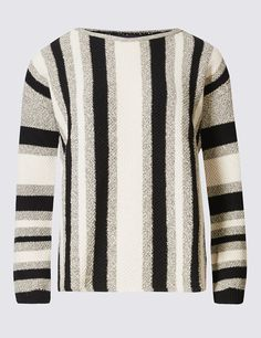 M&S Collection Striped Slash Neck Jumper: Shaped for a relaxed, loose fit, choose your normal… #UK #Menswear #WomensFashion #KidsClothes