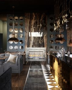 """The new project of the restaurant in the style of luxury and loftVisualization: Max TiabysDesigner: Nastya Ivanchuk for """"Shmidt Studio"""""""