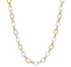 Sterling Silver Gold & White Mother of Pearl Oval Link Necklace Save an extra 20% on all clearances items promo code BOXING20