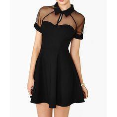 Voile Splicing Turn-Down Collar Short Sleeve Solid Color Stylish Women's Dress, BLACK, M in Dresses 2014 | DressLily.com