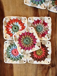 """Ravelry: Sunburst Granny Squares. You can make 6"""" with the pattern. These are just 4 1/2"""", using rounds 1-4 and kitchen cotton. Free crochet pattern."""
