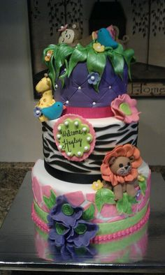 Safari Babyshower Cake  Veronica M Cakes