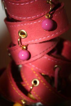 Pulseras en cuero rosado. #LooKcrecia