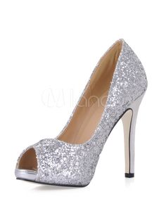 b526ce34da8 Glitter Peep High Heels Sequined Women s Stiletto Pumps Homecoming Shoes
