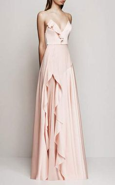 Phoebe Satin Crepe Ruffle Gown by Alex Perry for Preorder on Moda Operandi