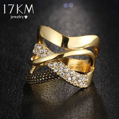17KM Fashion Zirconia Wedding Engagement Rings For Women Gold Color Fashion Jewelry Female Ring Bijoux Wholesale