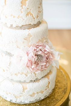 lace wedding cake  (Love Is In The Air - Decor, Florals, Cakes & Catering Photos, Catering Pictures, Virginia - Richmond, Norfolk, and surrounding areas)