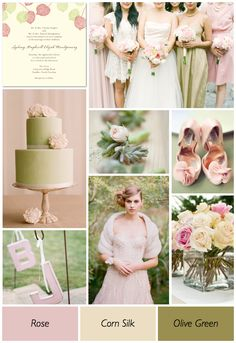 Love the pale colors and classic wedding look- timeless. Shades Of Pink And Green Wedding Color Ideas — Wedding Ideas, Wedding Trends, and Wedding Galleries Olive Green Weddings, Pink Green Wedding, Olive Wedding, Rose Wedding, Spring Wedding, Pink And Green, Wedding Flowers, Dream Wedding, Pink Weddings