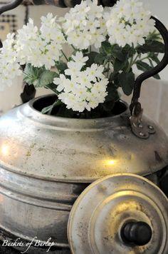 flowers in an old tea pot
