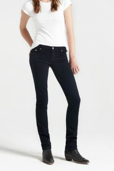 Mod Straight - Navy - NOBODY JEANS This is a great brand that I think will work so well for you. You can get them in David Jones or little boutiques. They are a Melbourne brand. Look for the higher rise and straight leg in a dark indigo blue denim.