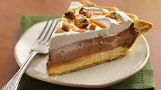 Refrigerated crust makes this pie recipe easy, filled with a double layer of caramel and chocolate cream, and a faint whisper of coffee. From Renee Douglas, Bake-Off® Monthly Challenge.