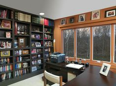 Home Office Photos Bookshelves Design Ideas, Pictures, Remodel, and Decor - page 2