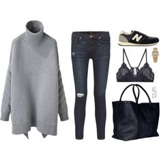 The jeans aren't so much my thing, but love the rest - especially the tote and long grey sweater.