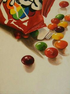 'Skittles' Kathryn Mackintosh - I like this piece because it is of a very simple object but it has been done in a lot of detail. (food art a level) Candy Drawing, Food Drawing, Sweet Wrappers, Gcse Art Sketchbook, Food Artists, Candy Art, A Level Art, Still Life Art, High Art