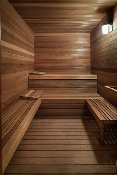 This wood covered sauna has been designed with different levels for sitting.