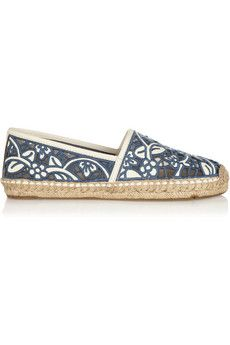 Tory Burch Lucia silk-embroidered leather espadrilles | THE OUTNET