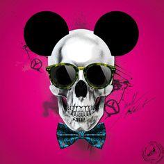 Tableau toile SKULL MOUSE Pink by Lab2Design Skeleton Bones, Skull And Bones, Crane, Skull Wall Art, Twisted Disney, Image Fun, Dream Art, Tattoo Shop, Tattoo Art