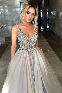 A-Line V-Neck Sweep Train Gray Prom Dress with Beading Pleats, modest beaded long prom dresses, unique v neck evening gowns with beading