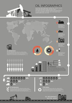 Free info graphic templates: Oil Theme Business Infographics.