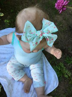 Oversized Mint and Floral Bow Vintage Inspired Bow Baby