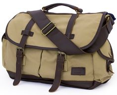 "High-End Canvas & Italian Leather Messenger Bag - 17"" Laptop"