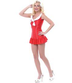 LOLITA GIRL 50's Style Red & White Retro Sailor Sue Nautical Swimsuit