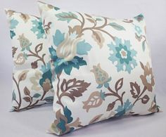 Two Floral Pillow Covers Blue and Brown by CastawayCoveDecor