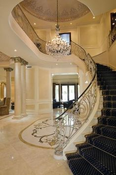 Classy staircase that leads to my private master bedroom.