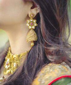 Stylish earings dpz for girls - Sari Info Gold Jewelry Simple, Stylish Jewelry, Cute Jewelry, Boho Jewelry, Wedding Jewelry, Fashion Jewelry, Women's Fashion, Gold Jewellery, Indian Jewelry