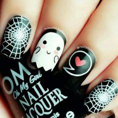 grafika nails, fantasma, and Halloween