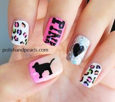 VS PINK Nails this gal actually drew the dog and wrote the Pink, talent! Get Nails, Love Nails, How To Do Nails, Pretty Nails, Hair And Nails, Pink Nail Art, Pink Nails, Color Nails, Nail Diamond