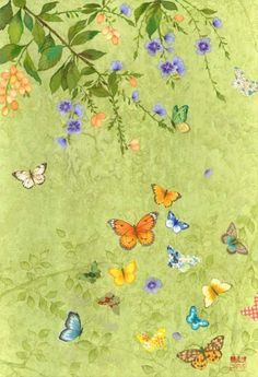Chris Chun artist butterflies and flowers design iPhone wallpaper background
