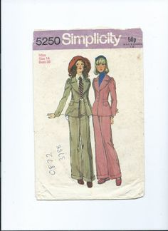 Vintage  paper pattern Simplicity 5250 for trouser by Marcialois