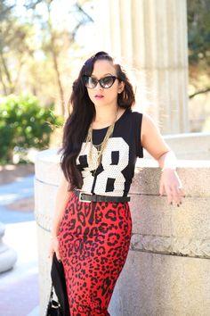 Red Leopard print Pencil skirt