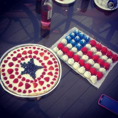4th of July cake balls, sugar cookie fruit pizza