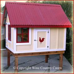 yellow red white chicken coop - Google Search