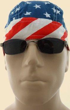 e1d02996b6b Stars and Stripes American Flag Bikers Cap  Skull Cap  Headwrap  Medical Cap