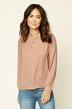 Forever 21 Contemporary - A woven top featuring a self-tie keyhole cutout neckline, long button-cuff sleeves, and a slightly rounded hem.